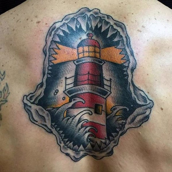 Lighthouse In Shark Jaw Guys Old School Back Tattoos