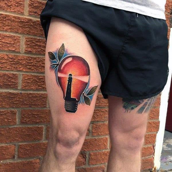 Lighthouse Mens Light Bulb Thigh Tattoos