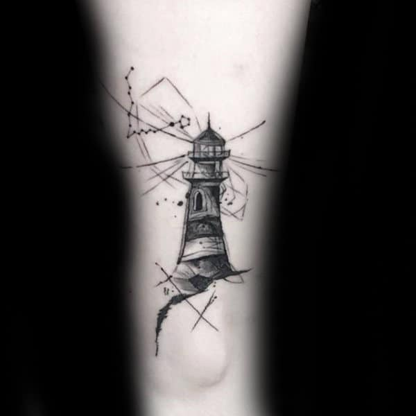 Lighthouse Pisces Constellation Mens Thigh Tattoos