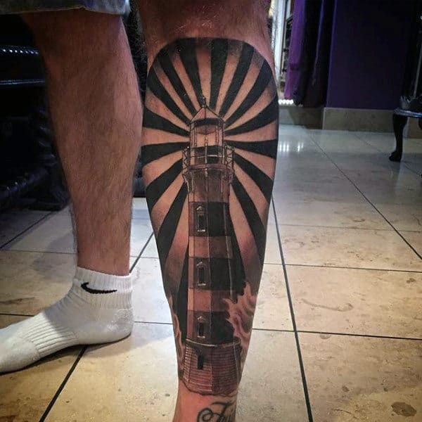 Lighthouse Rays Mens Black And Grey Shin Tattoo Design Inspiration