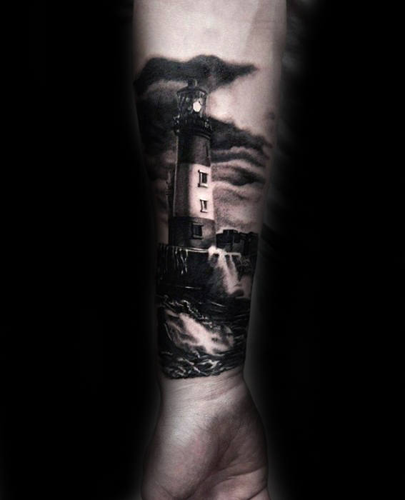 Lighthouse Realistic Guys 3d Forearm Sleeve Tattoo Designs