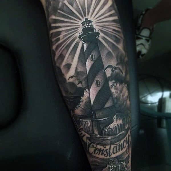 Lighthouse Sailor Tattoo Sleeve For Men