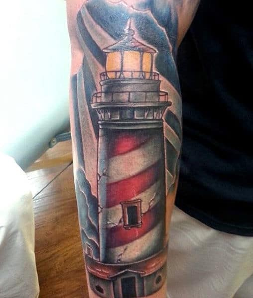 100 lighthouse tattoo designs for men a beacon of ideas. Black Bedroom Furniture Sets. Home Design Ideas