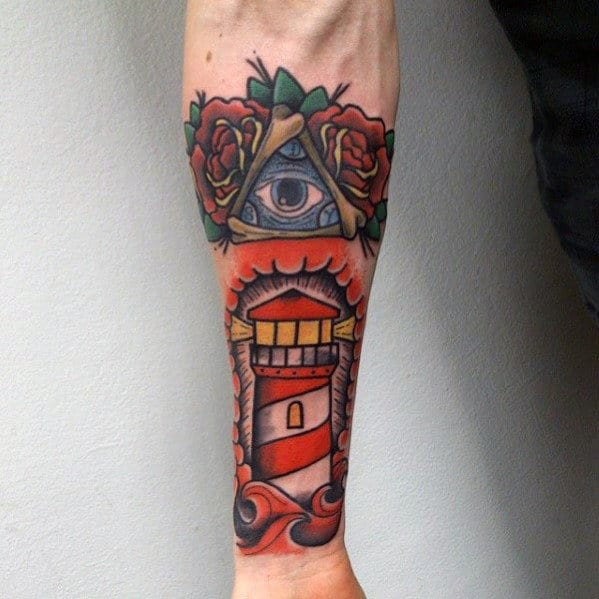 Lighthouse With Eye Mens Traditional Forearm Sleeve Tattoo