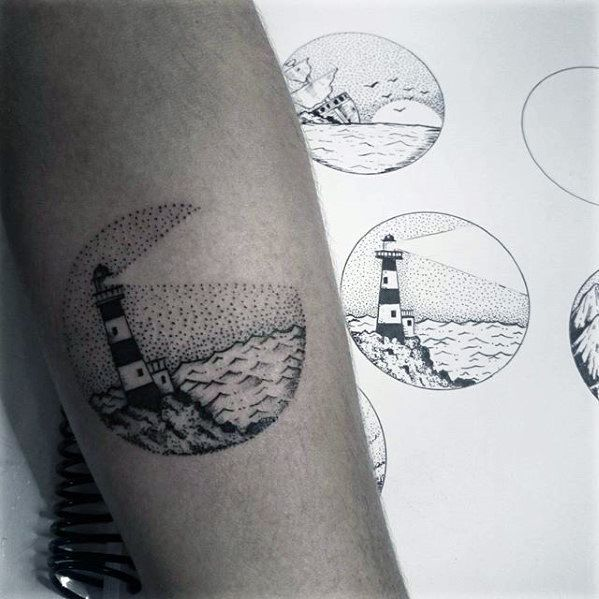 Lighthouse With Ocean Guys Circle Small Forearm Tattoo