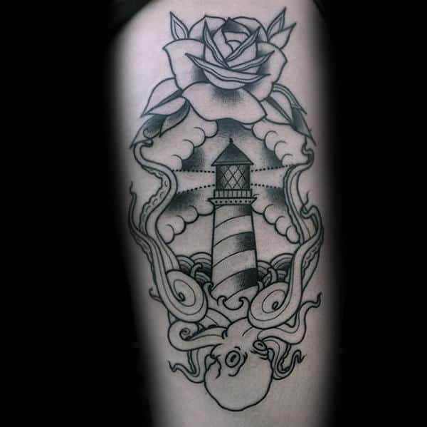 Lighthouse With Rose Flower And Octopus Mens Traditional Tattoos