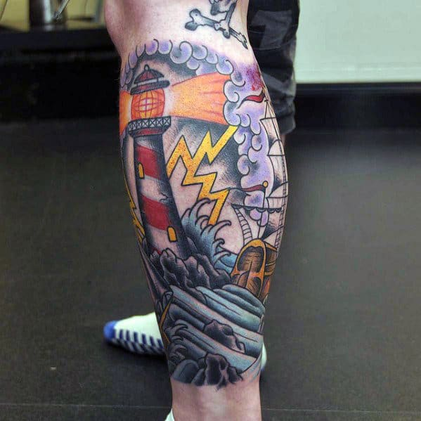 Lighthouse With Storm Traditional Leg Mens Sleeve Tattoo