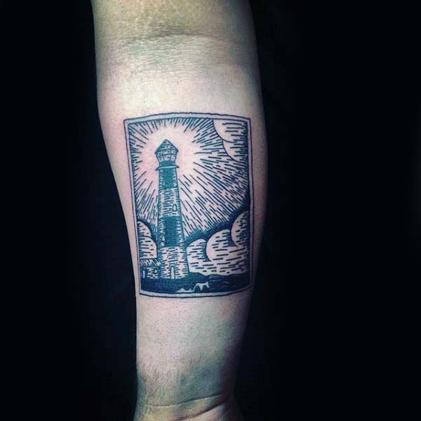 Lighthouse Woodcut Inner Forearm Tattoos For Guys