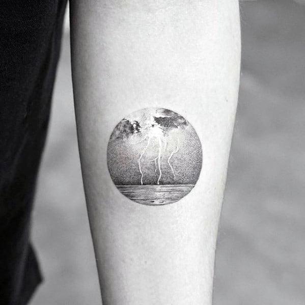 Lighting Striking Ocean Water Inner Forearm Quarter Sized Tattoo Design Ideas For Males