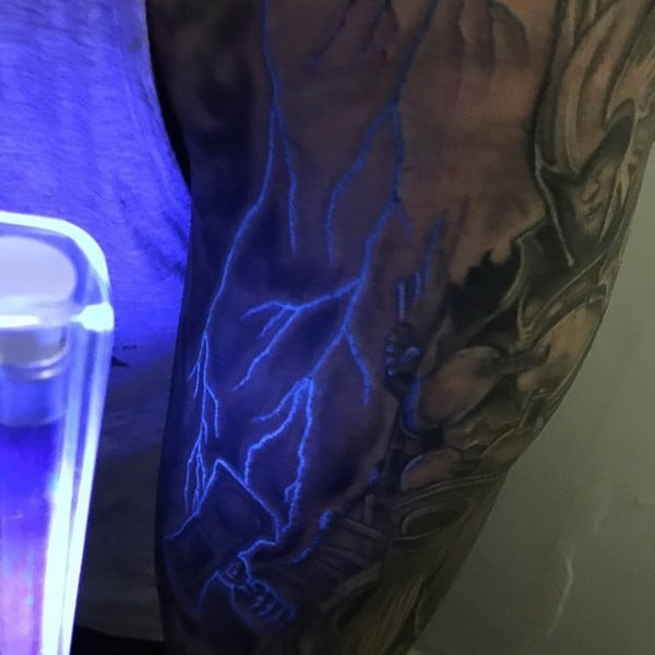Lighting Uv Ink Glow In The Dark Mens Arm Tattoo Design