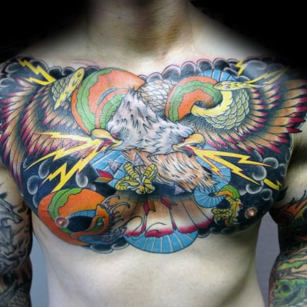 Lighting With Eagle Mens Colorful Chest Tattoos