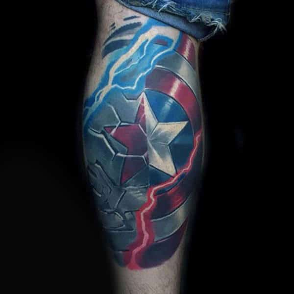 Lightning Bolt Captain America Shield Leg Tattoos For Men