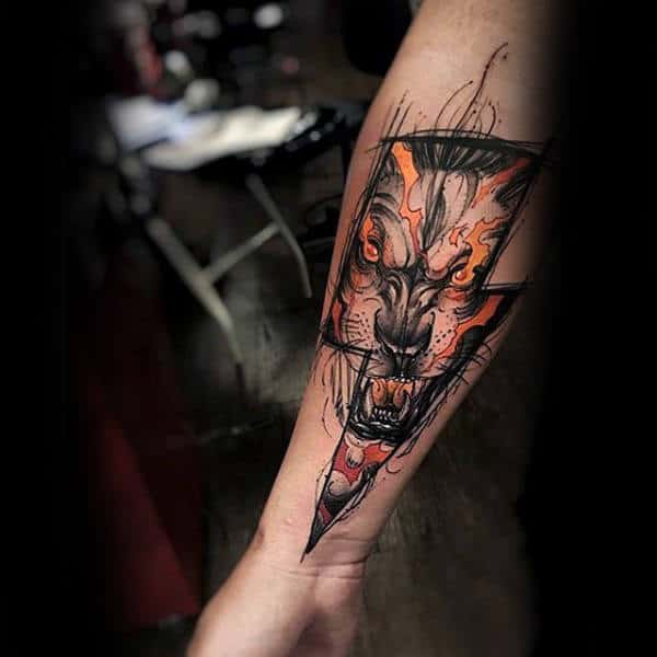 Lightning Bolt Insane Wolf Mens Inner Forearm Tattoo