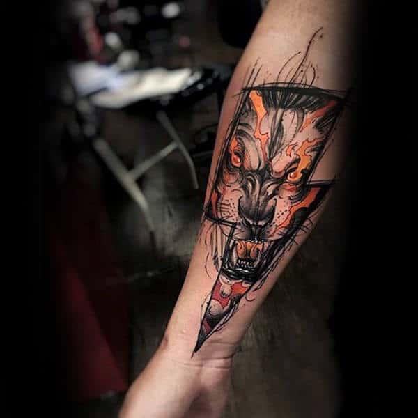 Lightning Bolt Insane Wolf Mens Inner Forearm Tattoo