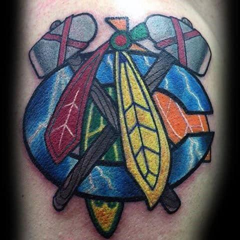 Lightning Chicago Blackhawks Logo Mens Arm Tattoos
