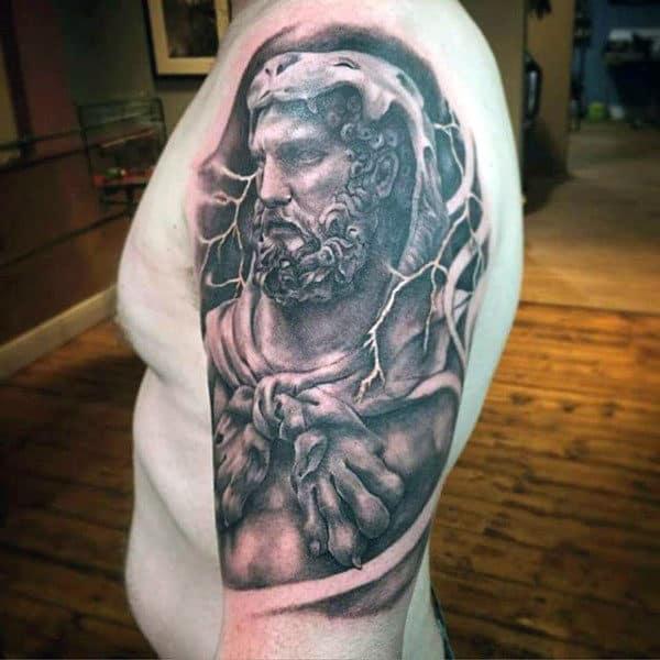 Lightning Hercules Half Sleeve Mens Tattoo