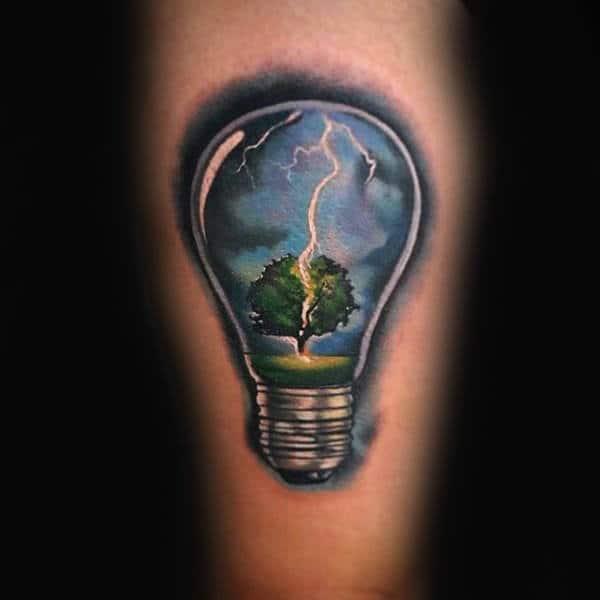 Lightning Hitting Tree Inside Light Bulb Guys Arm Tattoo Ideas
