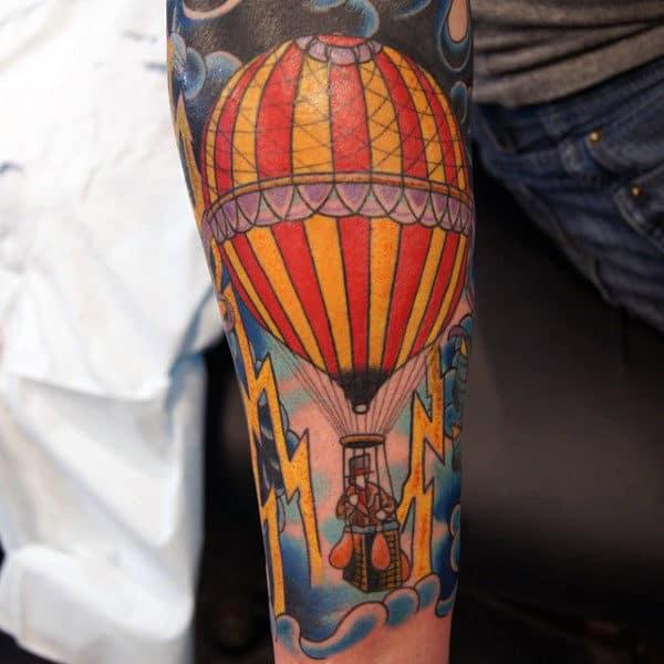 Lightning Hot Air Balloon Mens Forearm Sleeve Tattoo