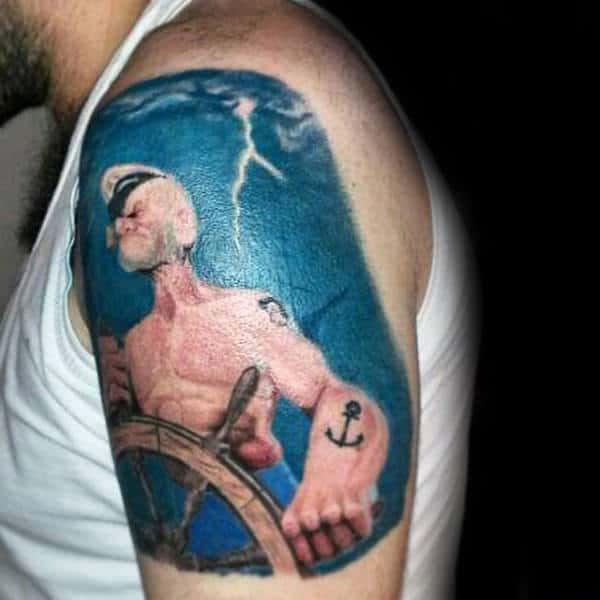 Lightning Sky Popeye Mens Upper Arm Tattoos