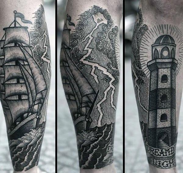 Lightning Storm Tattoos For Mens Of Ocean Sea