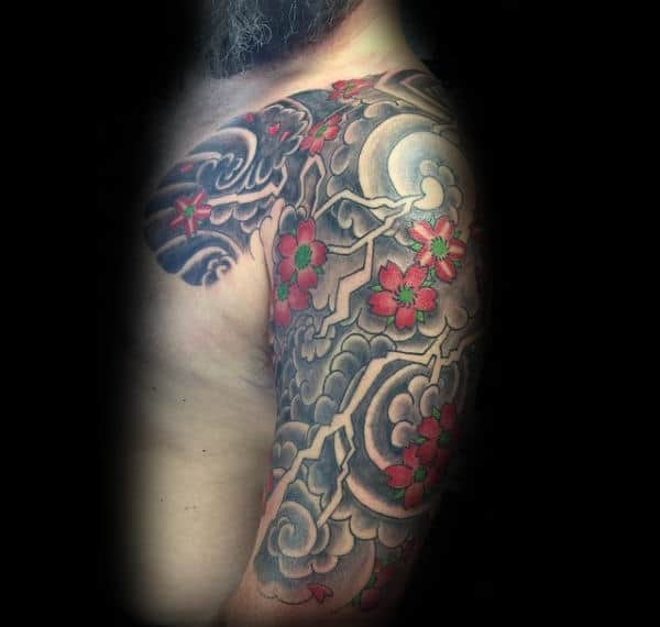 Lightning Traditional Japense Cherry Blossom Male Flower Half Sleeve Tattoo