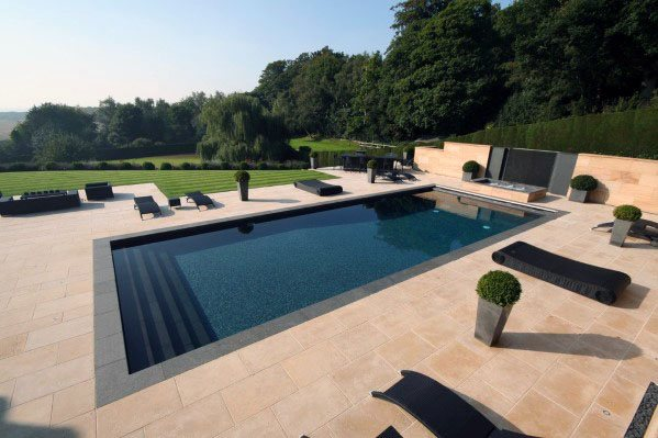 Limestone Backyard Ideas For Pool Tiles