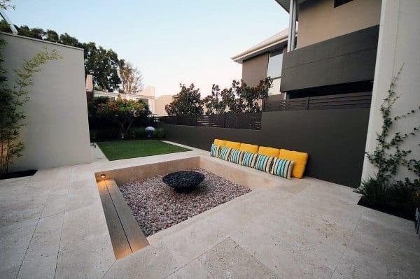 Limestone Tiles With Pebble Fire Pit Cool Backyard Ideas