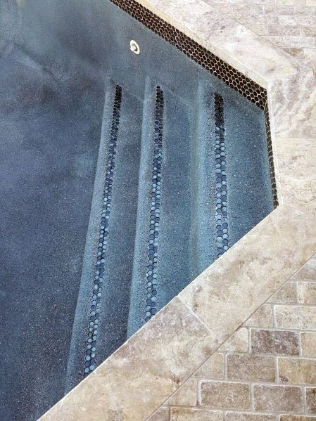 Limestone With Iridescent Accent Tile On Stairs Pool Ideas
