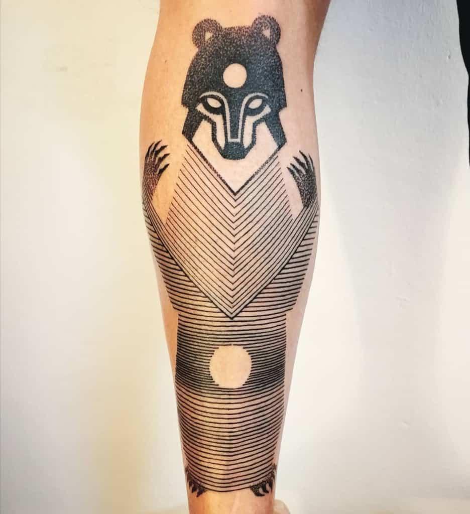 Line Art Bear Third Eye Tattoo