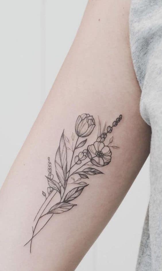 Line Black Tulip Tattoo