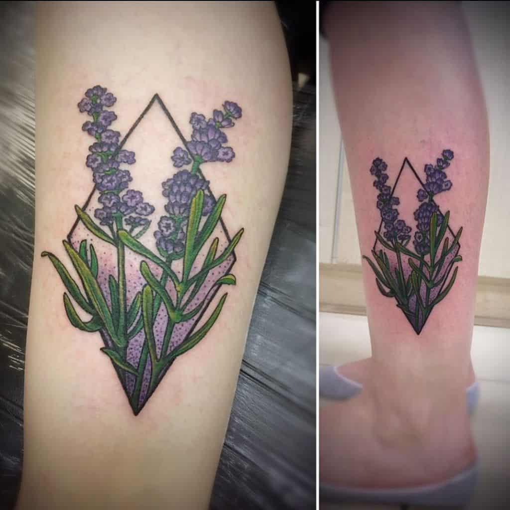 Line Colored Lavander Tattoo