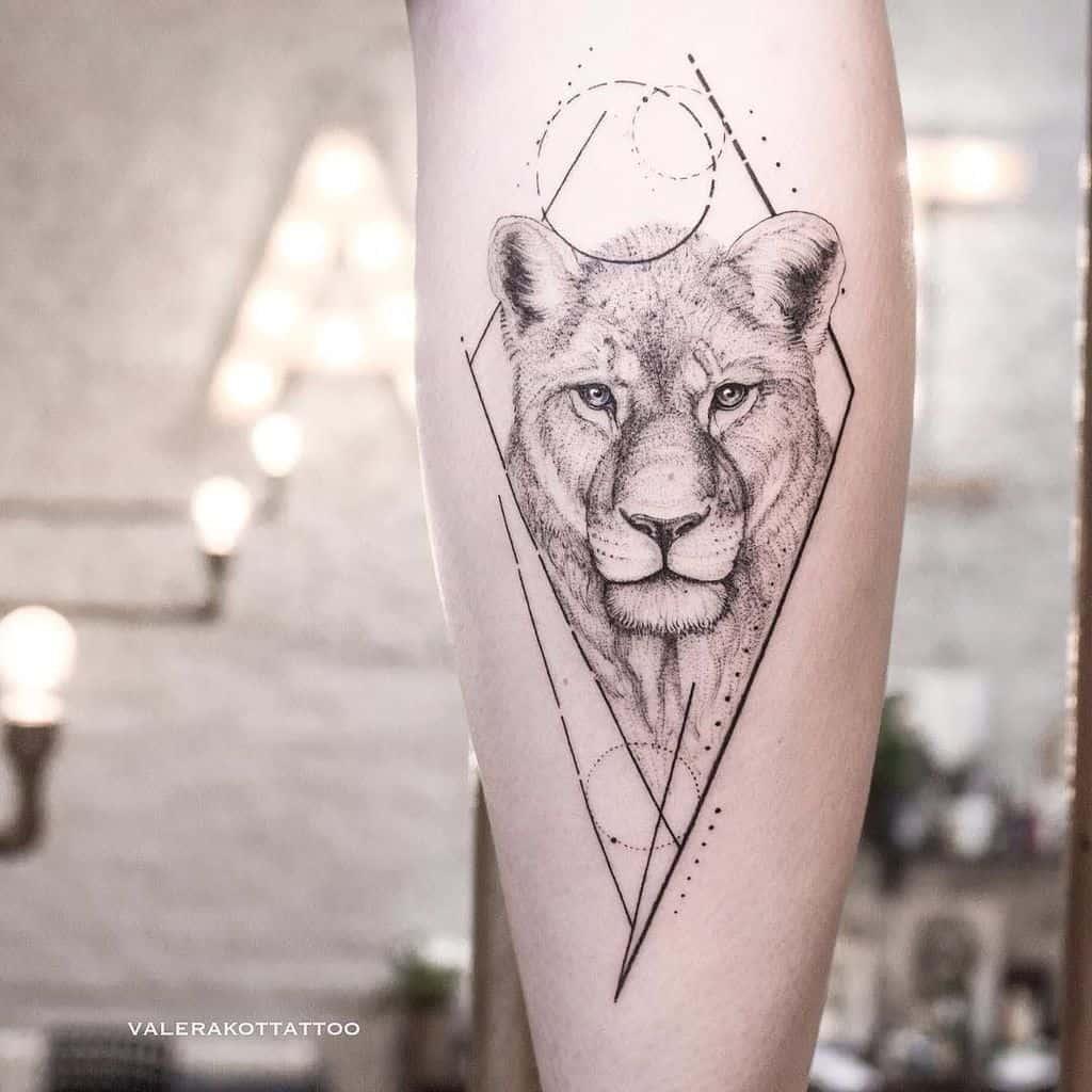Line Work Dot Diamond Lion Tattoo