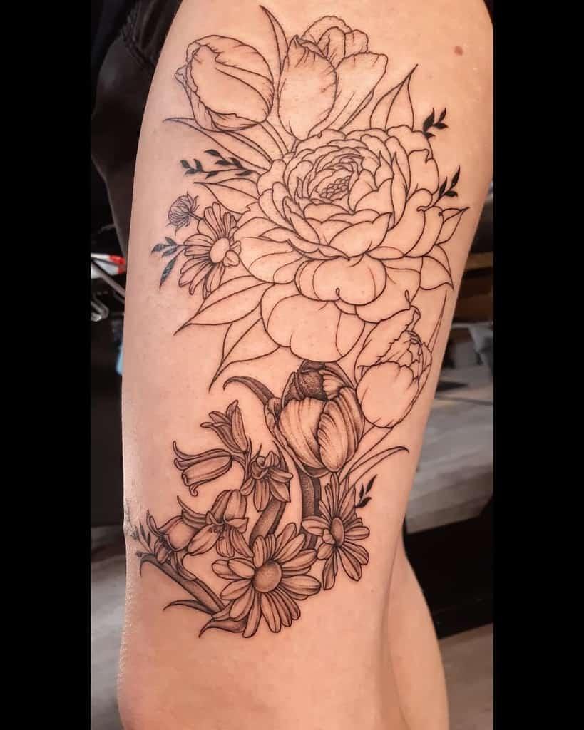 Line Work Large Tulip Tattoo