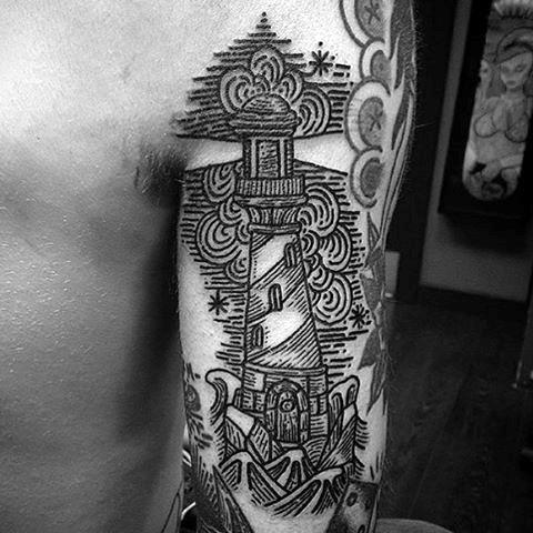 Line Work Lighthouse Male Tattoo Design