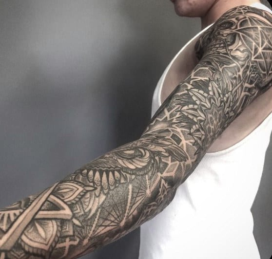 Line Work Sacred Geometry Tattoos For Male Sleeves