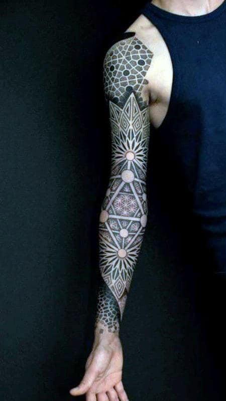 Line Work Sleeve Sacred Geometry Male Tattoos