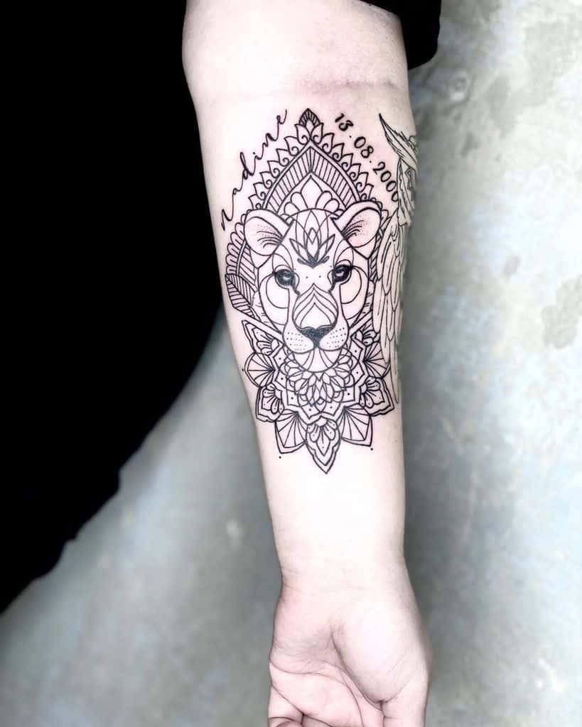 Line Work Style Lioness Tattoo
