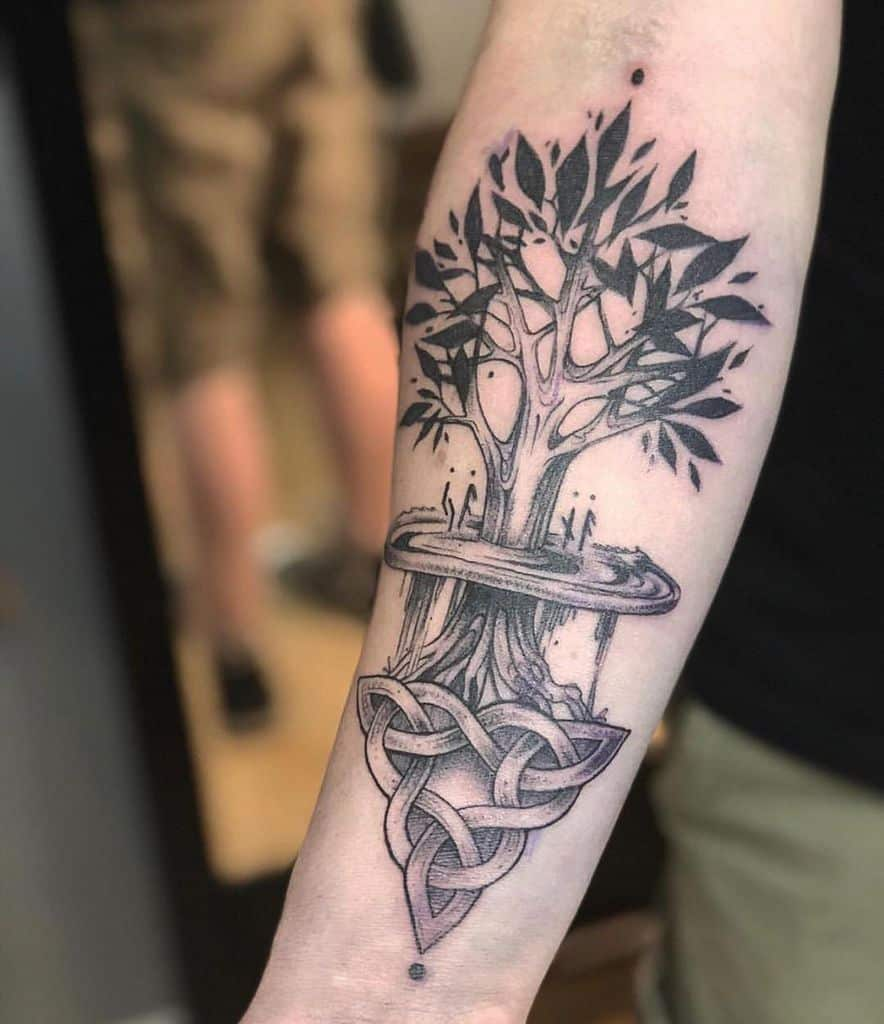line work yggdrasil tattoo