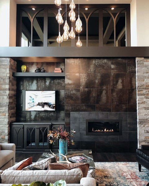 Linear Fireplace Interior Design Living Room