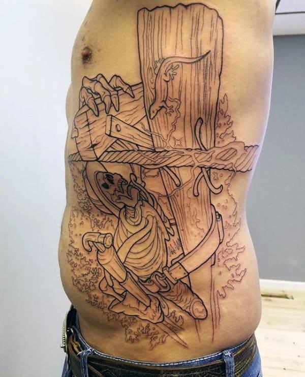 Lineman Skeleton Climbing Electrical Power Line Pole Mens Rib Cage Side Tattoo