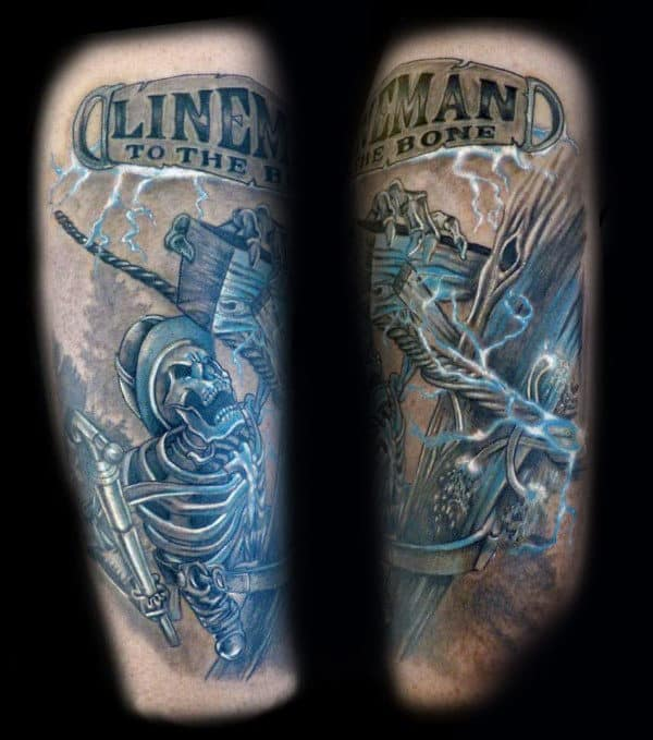 Lineman To The Bone Mens Electrical Arm Tattoo Design With Skeleton