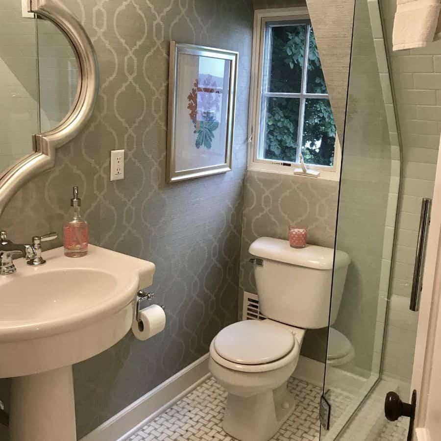Lines And Shapes Bathroom Wallpaper Ideas Abigail Hayden Interior Design