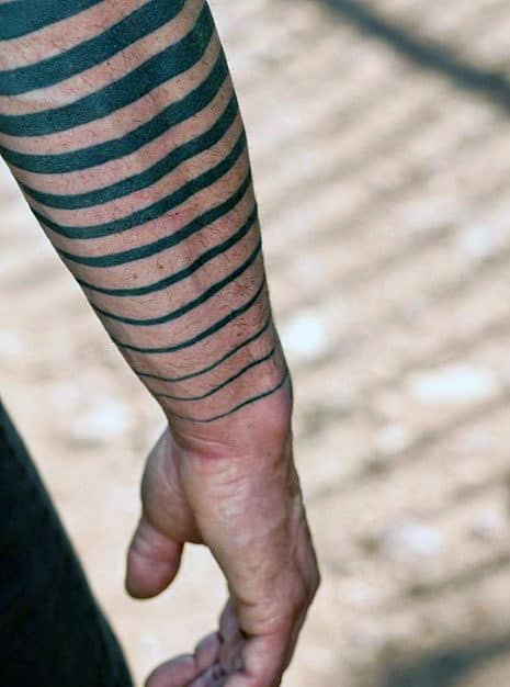 Lines Blackwork Male Tattoos