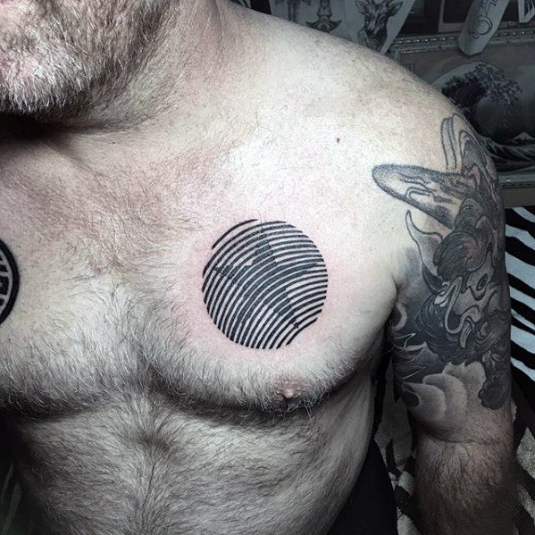 Lines Optical Illusion Mens Simple Star Upper Chest Tattoo