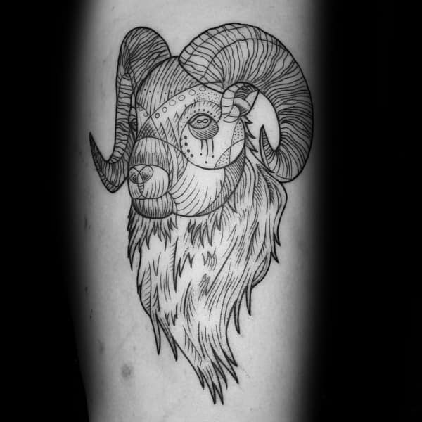 Lines Ram Guys Forearm Tattoo