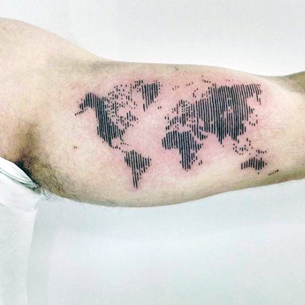 Lines World Map Inner Arm Guys Tattoo