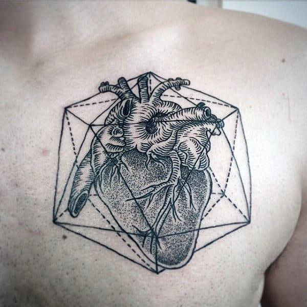 Linework Geometric Heart Male Dotwork Chest Tattoo Ideas