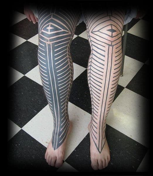 Linework Guys Tribal Leg Tattoos Full Sleeve
