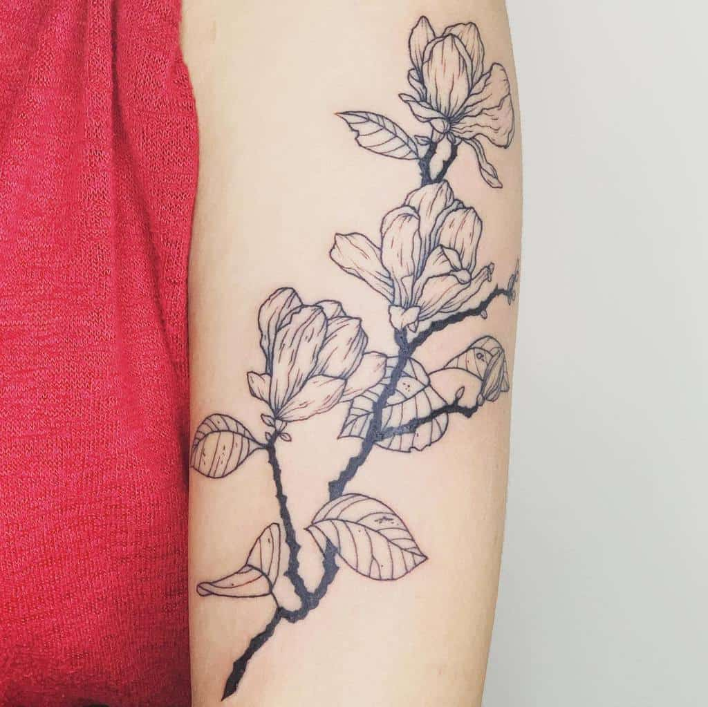 linework magnolia tattoos inkbyuk