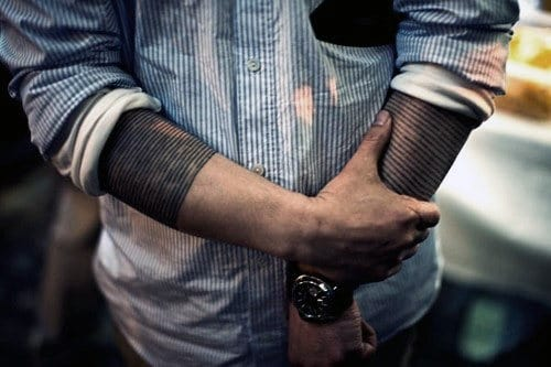 Linework Male Black Band Sleeve Tattoos